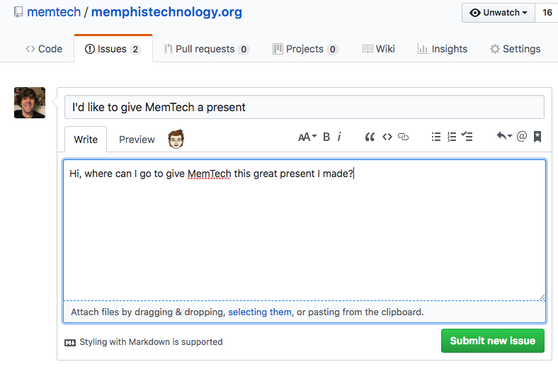 Screenshot of an example GitHub issue